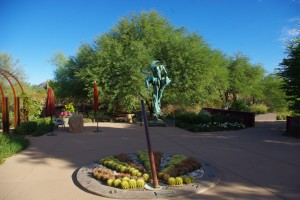 """The Herb Garden contains many unusual sites like the sundial and """"St. Earth Walking."""""""